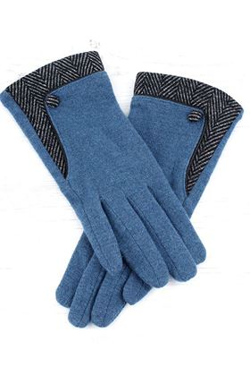Picture of Pom Teal Gloves with Herringbone Detail