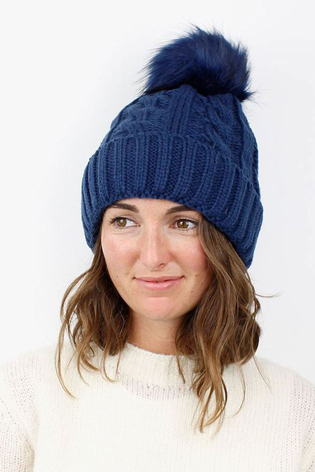Picture of Pom Navy Cable Knit Faux Fur Bobble Hat