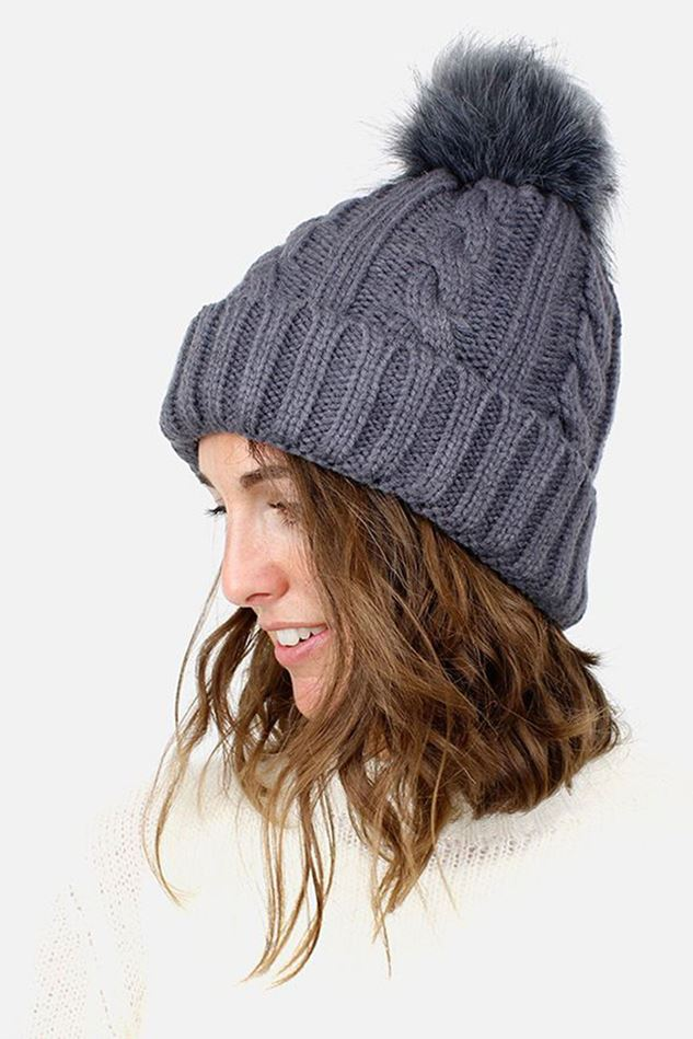 Picture of Pom Grey Cable Knit Faux Fur Bobble Hat