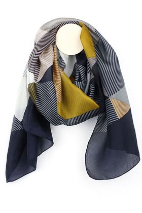 Picture of Pom Navy/Mustard Silk Scarf