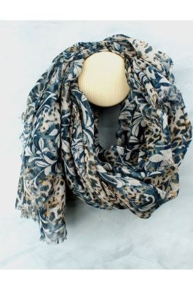 Picture of Pom Blue Taupe Wild Leaf and Sequin Scarf