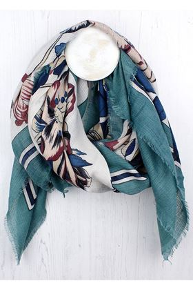Picture of Pom Green-Blue Border Floral Latin Scarf