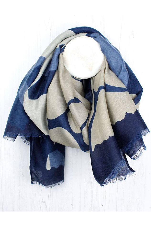 Picture of Pom Blue Mix Graphic Print Scarf
