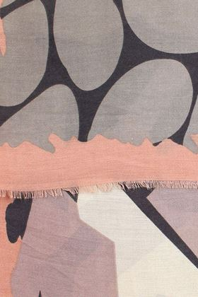 Picture of Pom Pink and Grey Graphic Print Scarf
