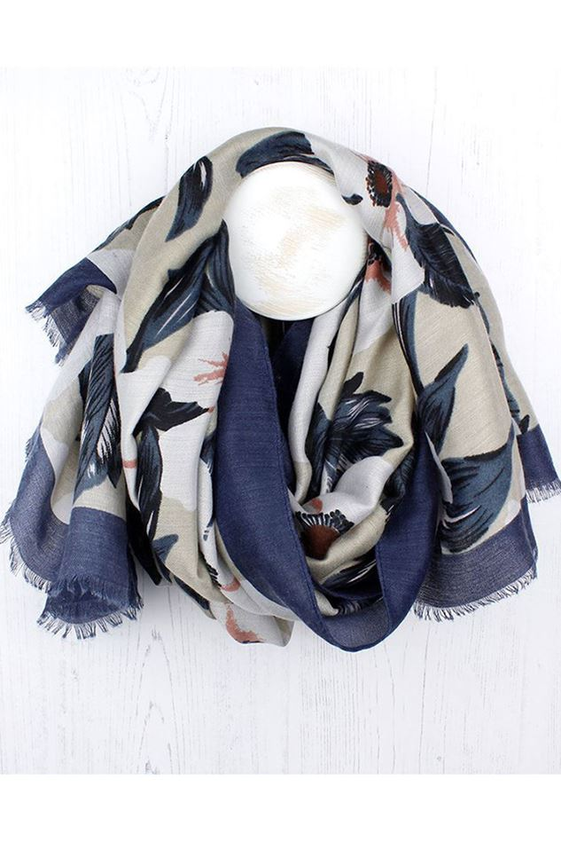 Picture of Pom Blue Mix Floral Print Scarf