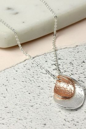 Picture of Pom Silver and Rose Gold Plated Nesting Twists Necklace