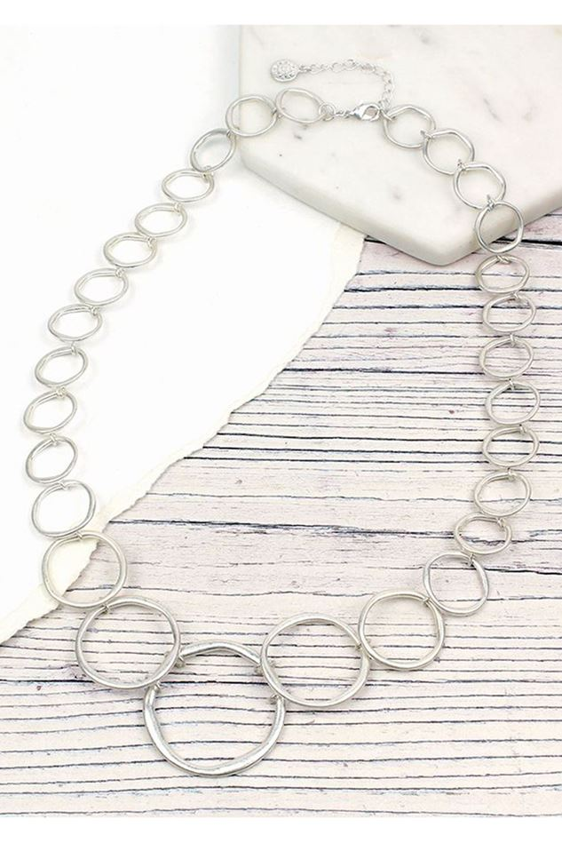 Picture of Pom Worn Silver Linked Hoops Necklace