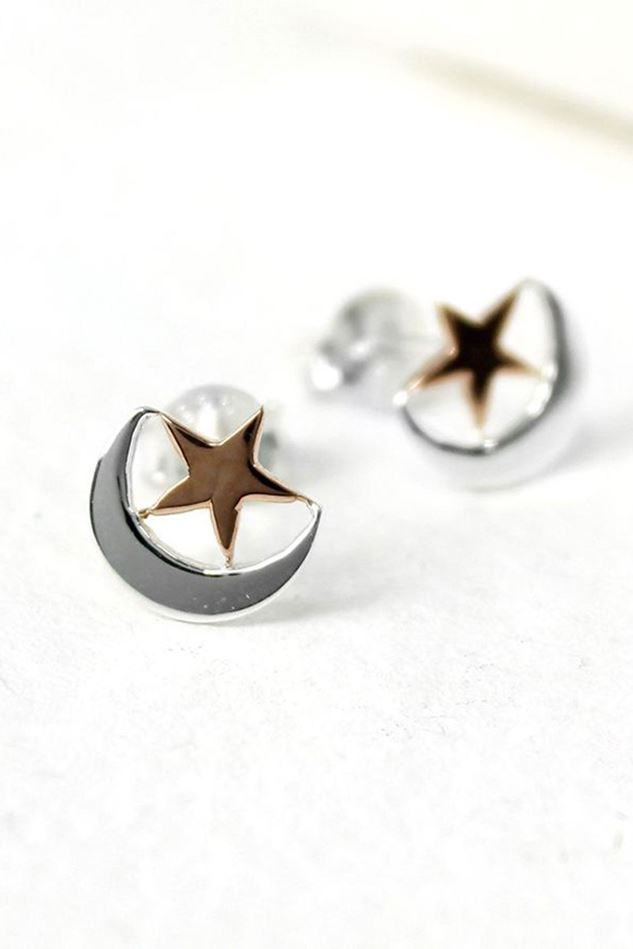 Picture of Pom Silver Moon Rose Gold Star Stud Earrings