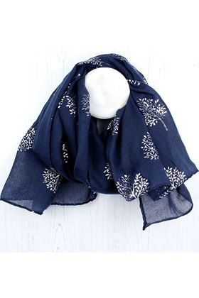 Picture of Pom  Navy Blue Silver Tree Scarf
