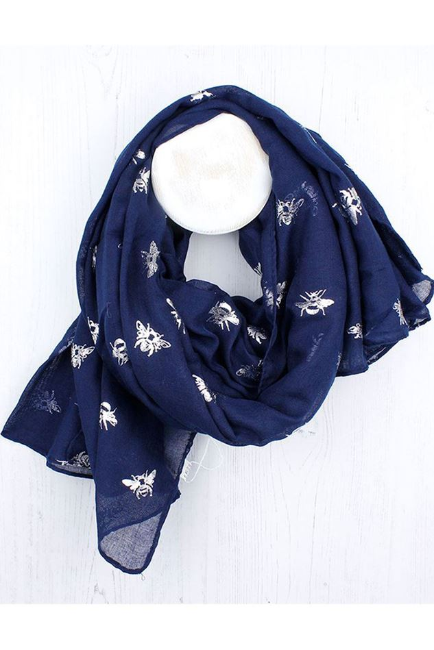 Picture of Pom Navy Blue Silver Bee Scarf