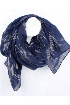 Picture of Pom Navy Blue Silver Sequin Scarf