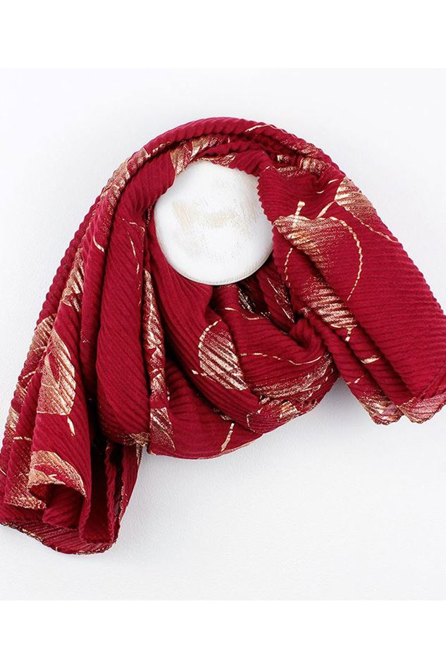 Picture of Pom Red Crinkle Rose Gold Leaf Print Scarf