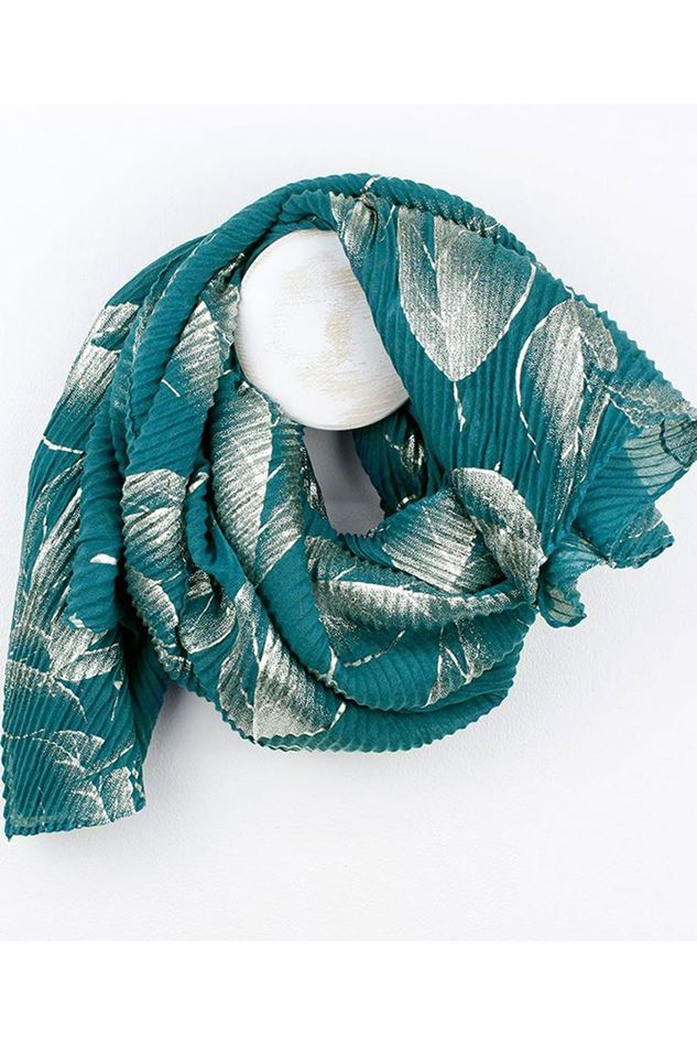 Picture of Pom Teal Crinkle Silver Leaf Scarf