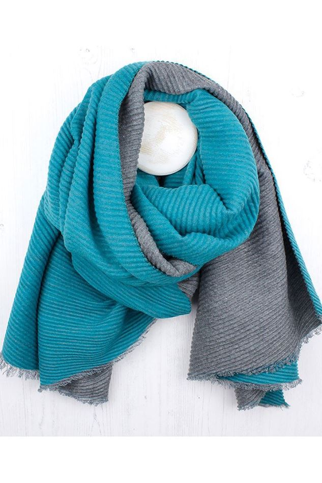 Picture of Pom Teal/Grey Pleated Scarf