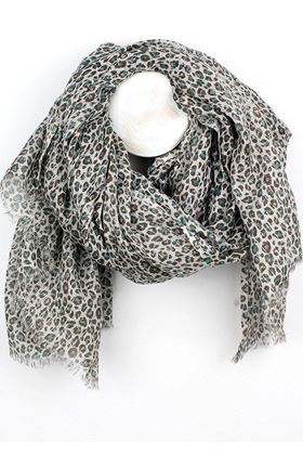 Picture of Pom Taupe Turquoise Animal Print Scarf