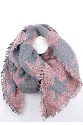 Picture of Grey and Pink Reversible Star Scarf