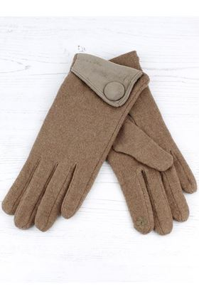 Picture of Pom Taupe Wool Button Gloves