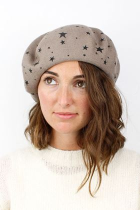 Picture of Pom Taupe Beret with Star Print
