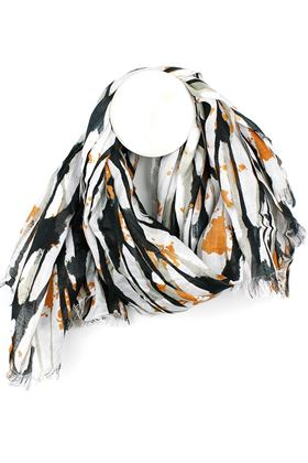 Picture of Pom  Black and Orange Print Scarf