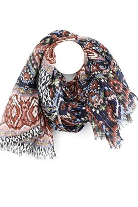 Picture of Pom Red Mix Print Scarf with Lurex