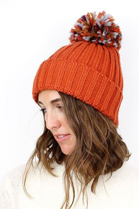 Picture of Pom Burnt Orange Pom Pom Hat