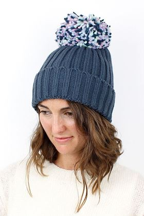 Picture of Pom Denim Blue Pom Pom Hat