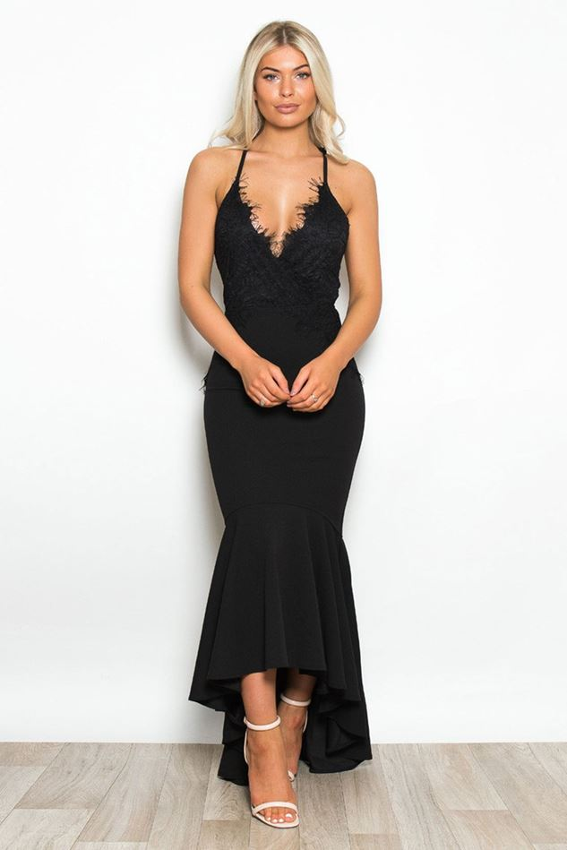 Picture of Layla Lace Top Frill Hem Maxi Dres