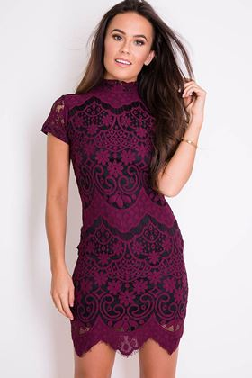 Picture of Girl in Mind Plum Emilia High Neck Lace Dress
