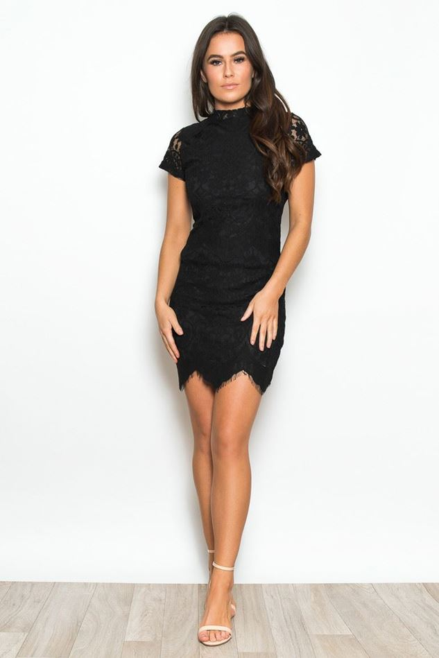 Picture of Girl in Mind Black Emilia High Neck Lace Dress