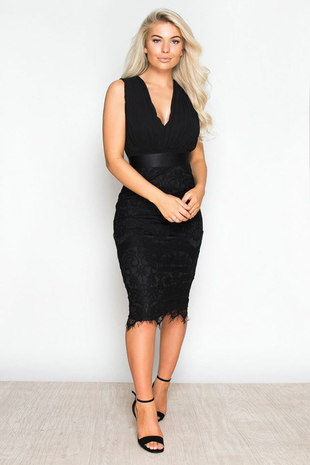 Picture of Girl in Mind Flora Pleated Plunge Lace Bodycon Dress