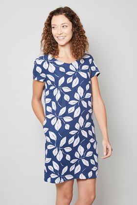Picture of Lily and Me Navy Leaf Print Shift Dress