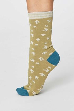 Picture of Thought Swallow Bird Print Socks