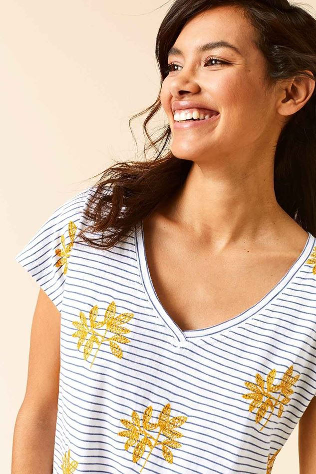 Picture of White Stuff Fun Stripe Embroidered Tee