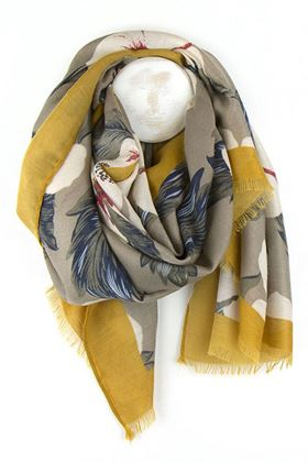 Picture of Pom Floral Print Scarf with Mustard Border