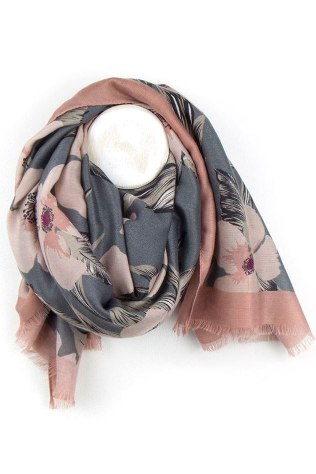 Picture of Pom Pink and Grey Floral Print Scarf