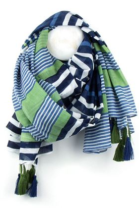 Picture of Pom Navy and Lime Stripe Scarf