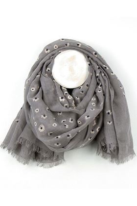 Picture of Pom Grey Daisy Print Scarf