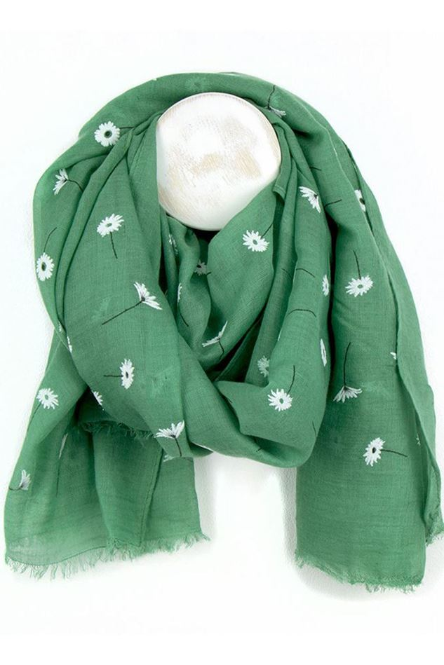 Picture of Pom Green Daisy Print Scarf