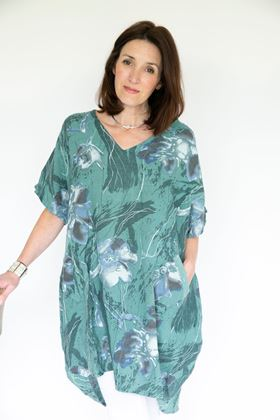 Picture of Inis Collection Floral Sequin Pocket Linen Tunic