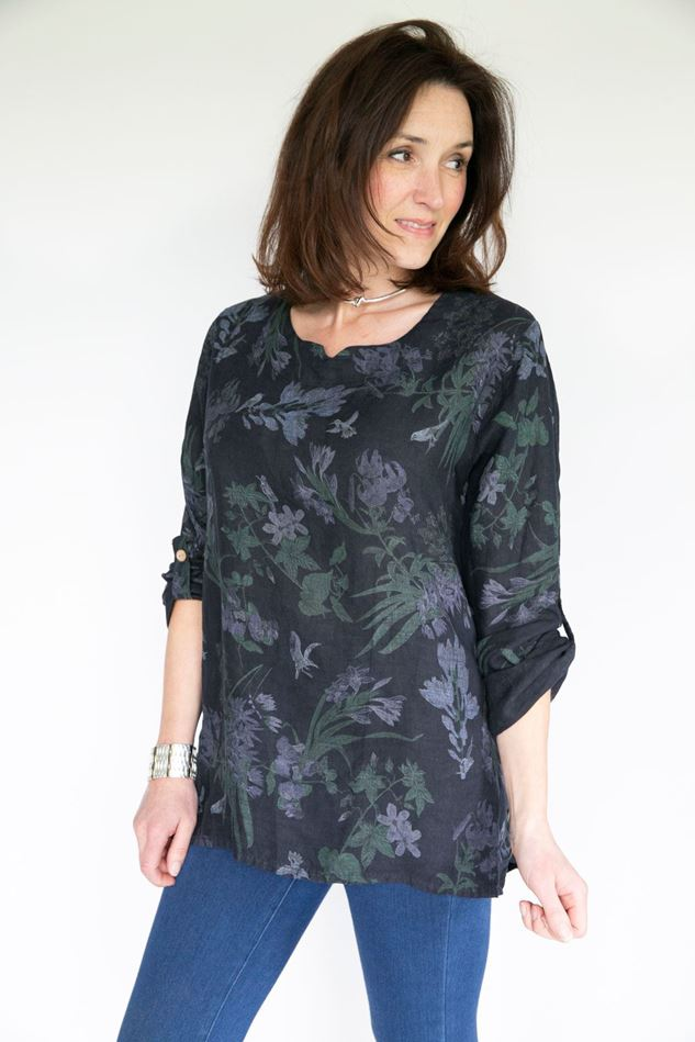 Picture of Inis Collection Floral Linen Top with Button Detail