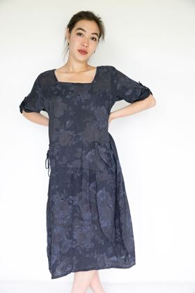 Picture of Inis Collection Drawstring Pocket Floral Linen Dress