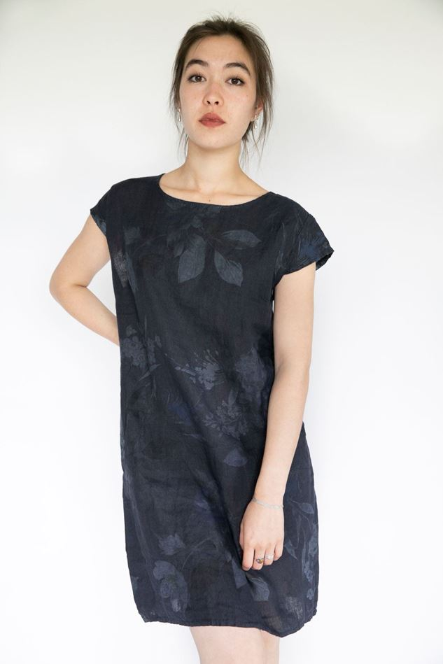 Picture of Inis Collection Cap Sleeve Floral Linen Dress