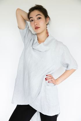 Picture of Inis Collection Cowl Neck Linen Crossover Tunic