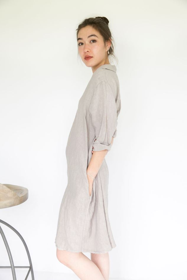 Picture of Inis Collection Open Collar Linen Dress