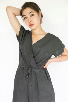 Picture of Inis Collection Cross Front Linen Culotte Jumpsuit