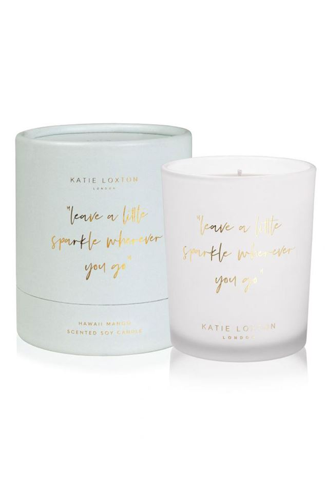 """Picture of Katie Loxton Words to Live by Candle - """"leave a little sparkle wherever you go"""""""