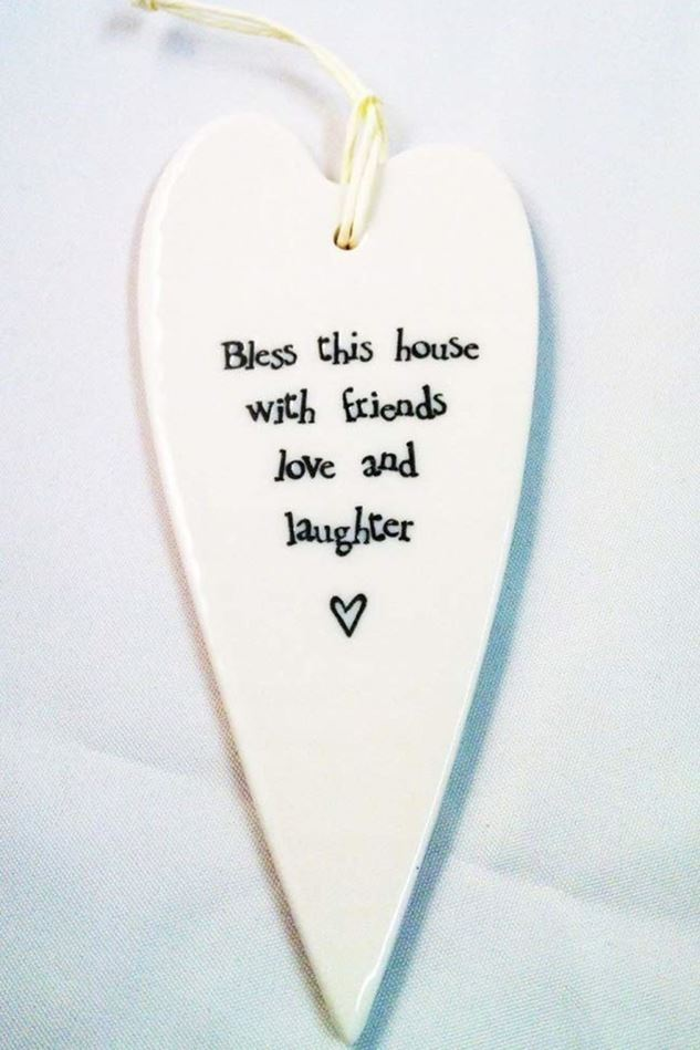 Picture of East of India Porcelain long heart - Bless this house