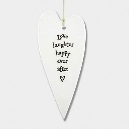 Picture of East of India Porcelain long heart - Love, Laughter, Happy ever After