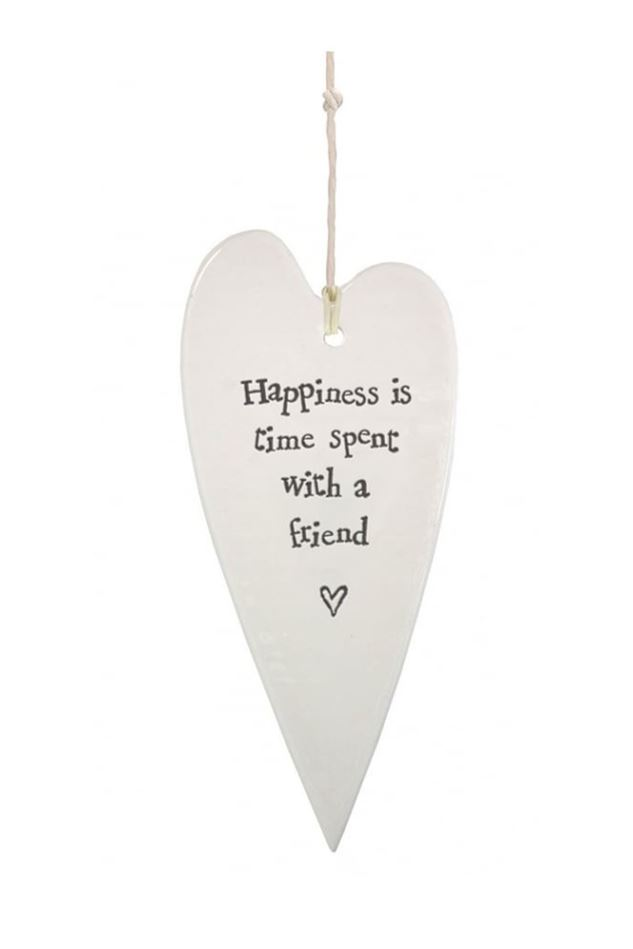 Picture of East of India Porcelain long heart - 'Happiness is time spent with a friend'