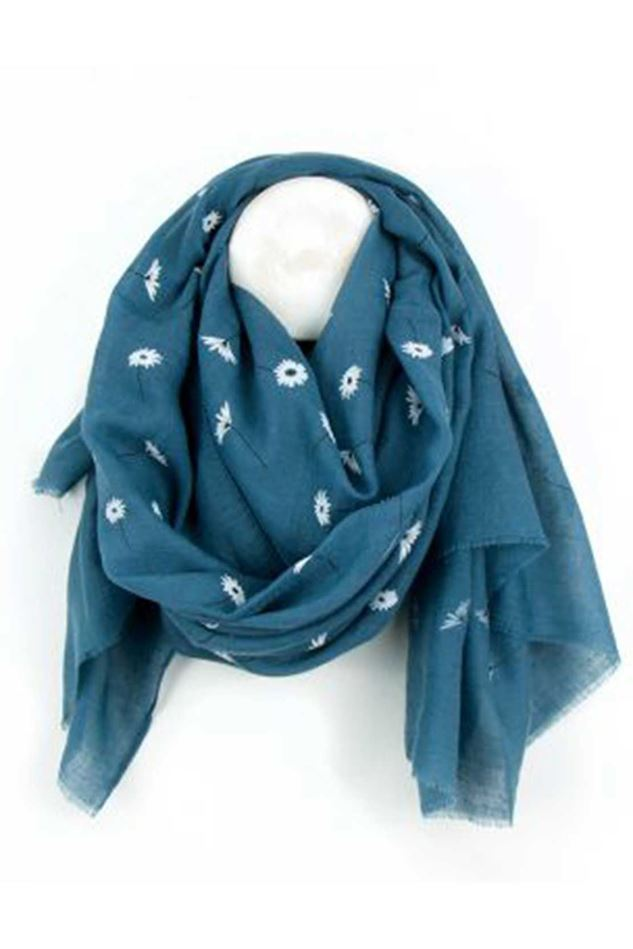 Picture of Pom Blue Daisy Print Scarf